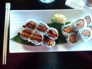 (left) Sweet Potato Roll, (right) Crunchy Salmon Roll