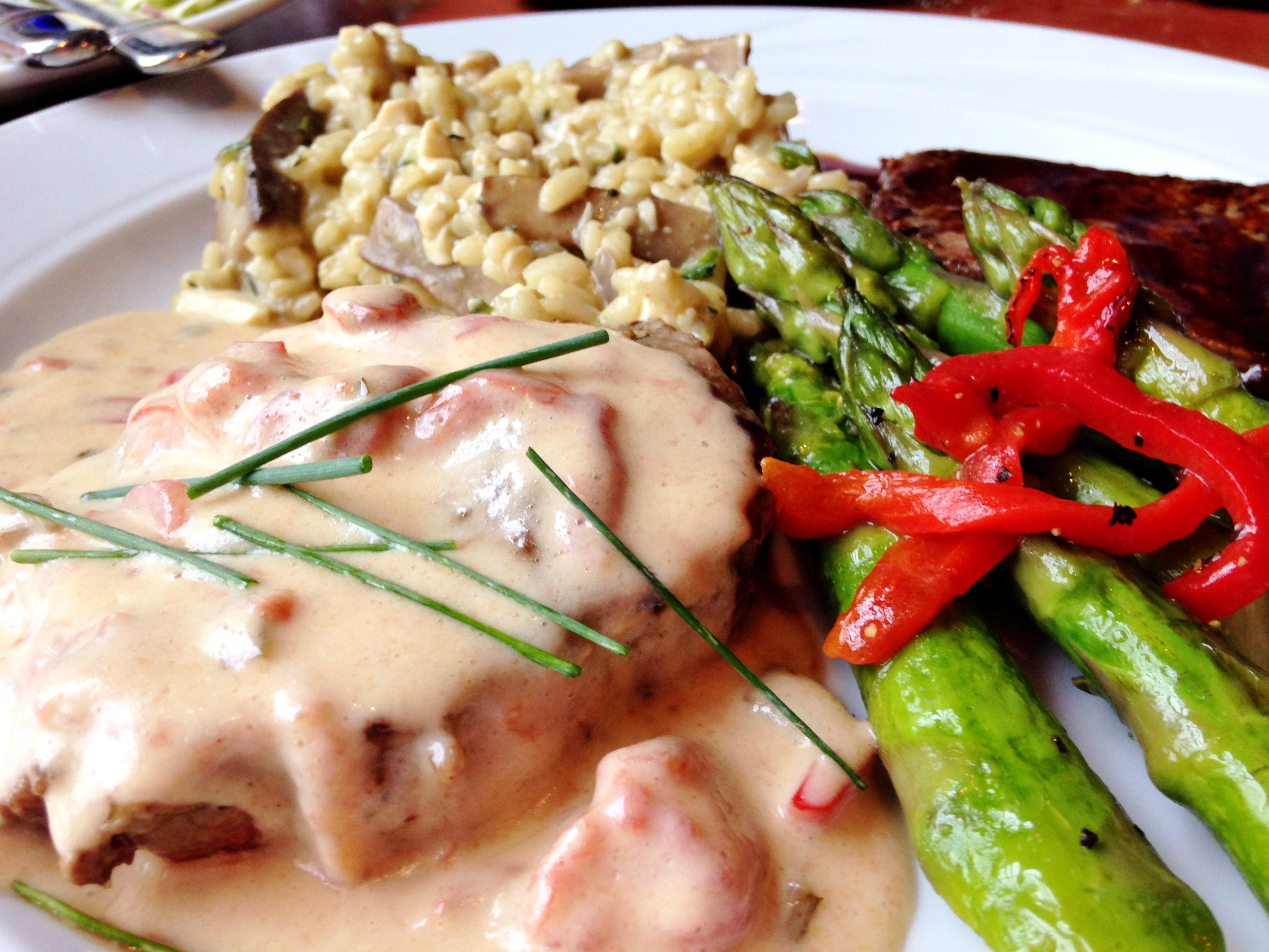 Bev's On the River steak with creole hollandaise sauce.