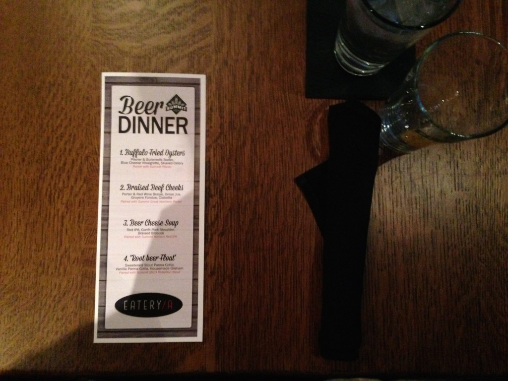 Summit Beer Dinner Menu