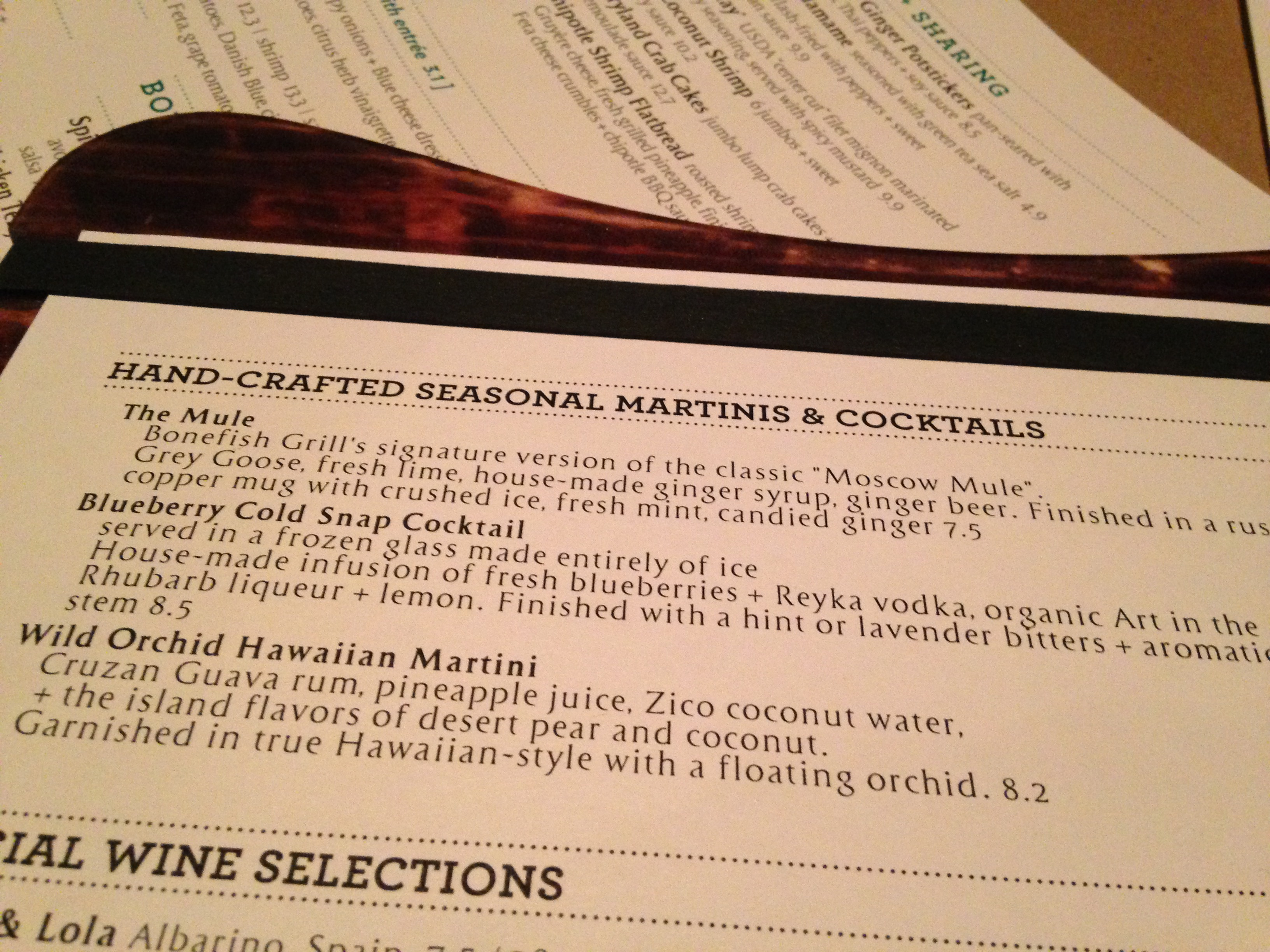Bonefish grill drink menu with prices for Fish and grill menu
