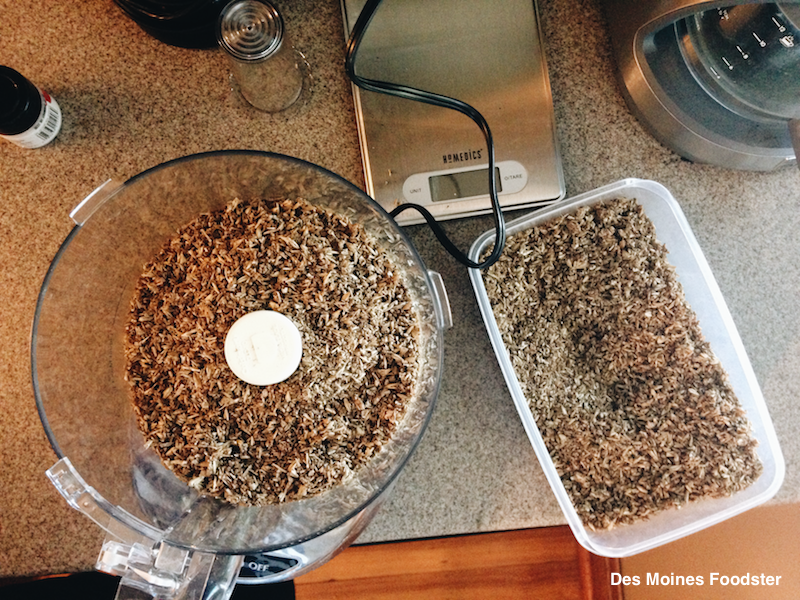 Spent grain in food processor and container