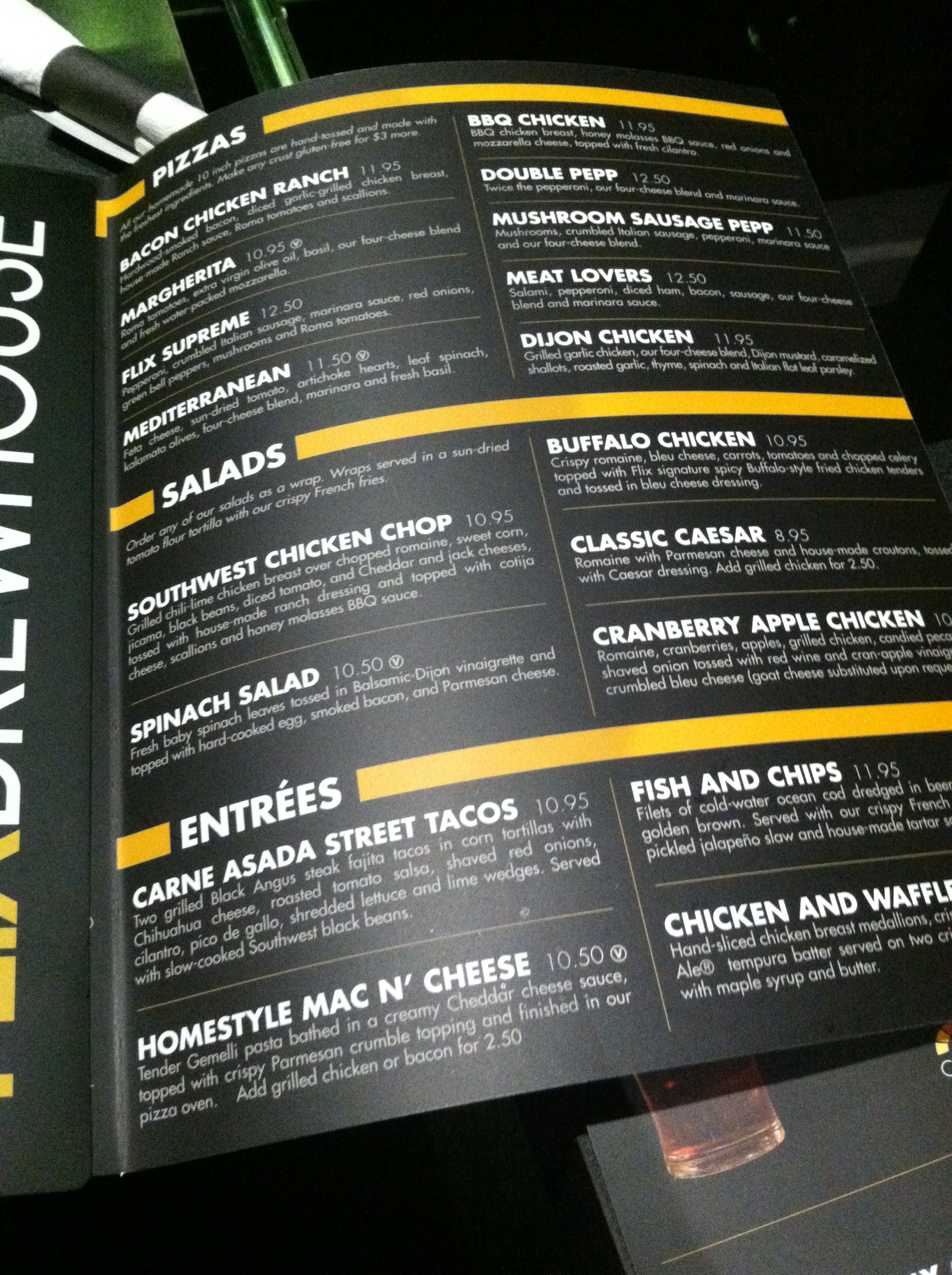 Flix Brewhouse Menu