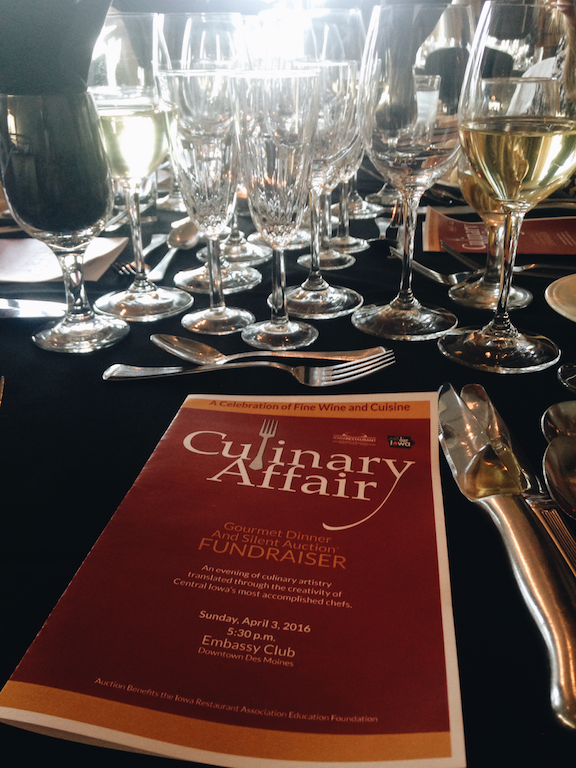Culinary affair menu and table