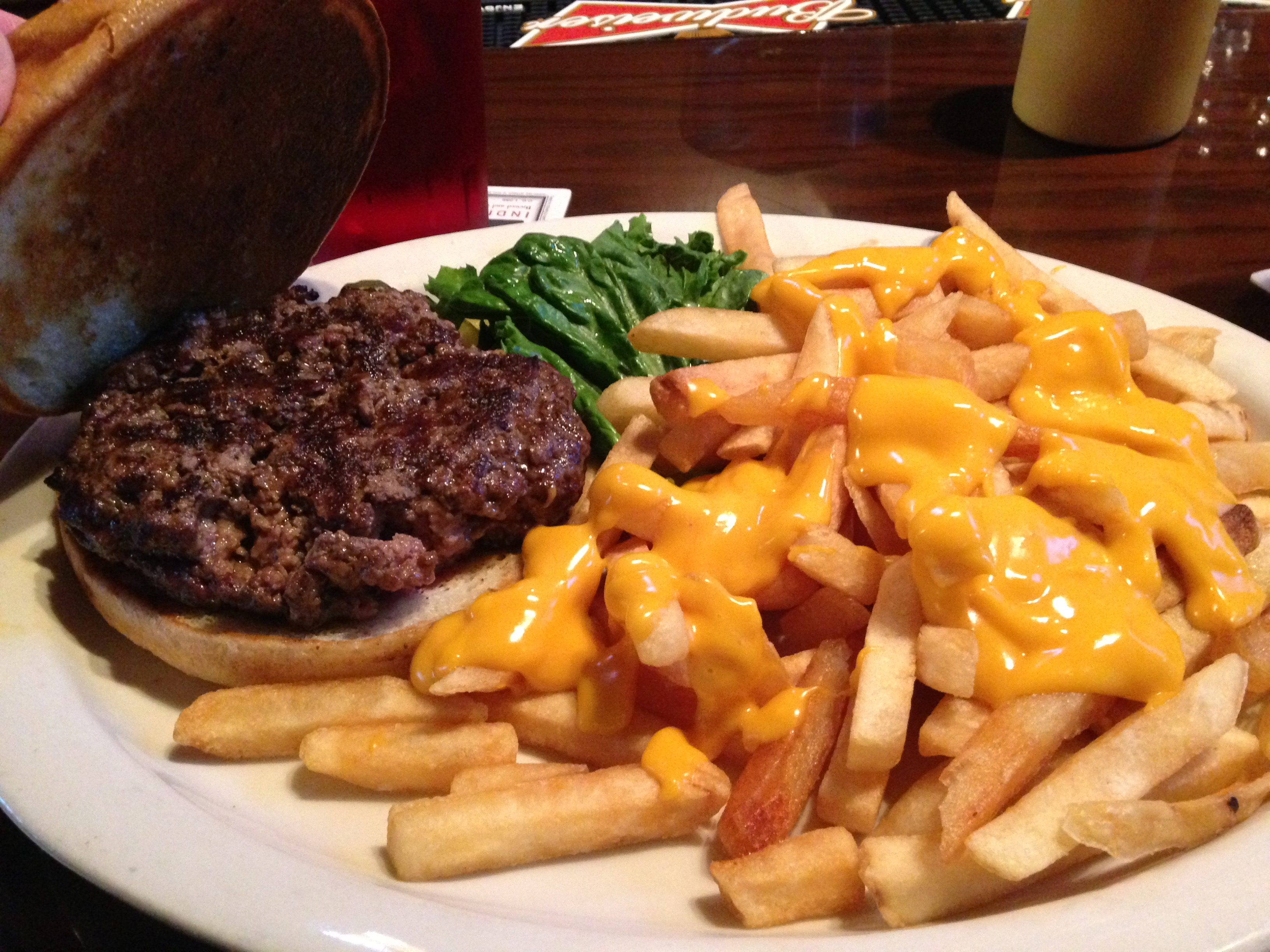 BW's Burgers Burger with cheese sauce fries