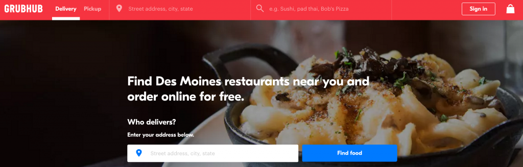 GrubHub food delivery des moines