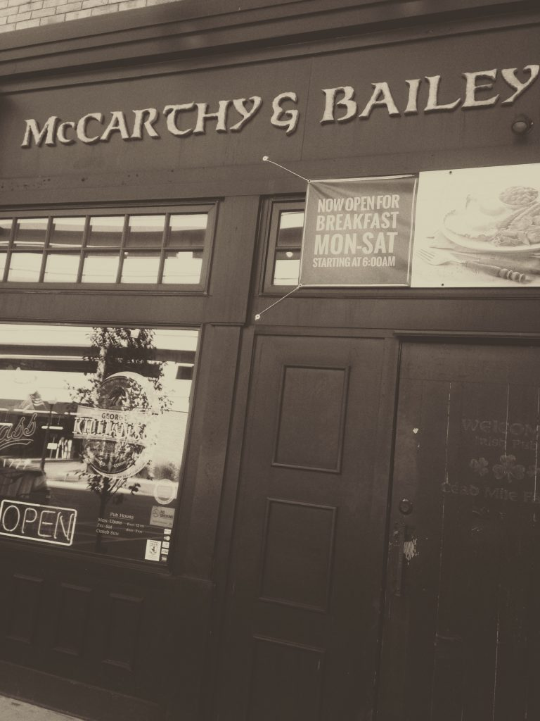 front door of McCarthy and Bailey's Irish Pub in sioux city
